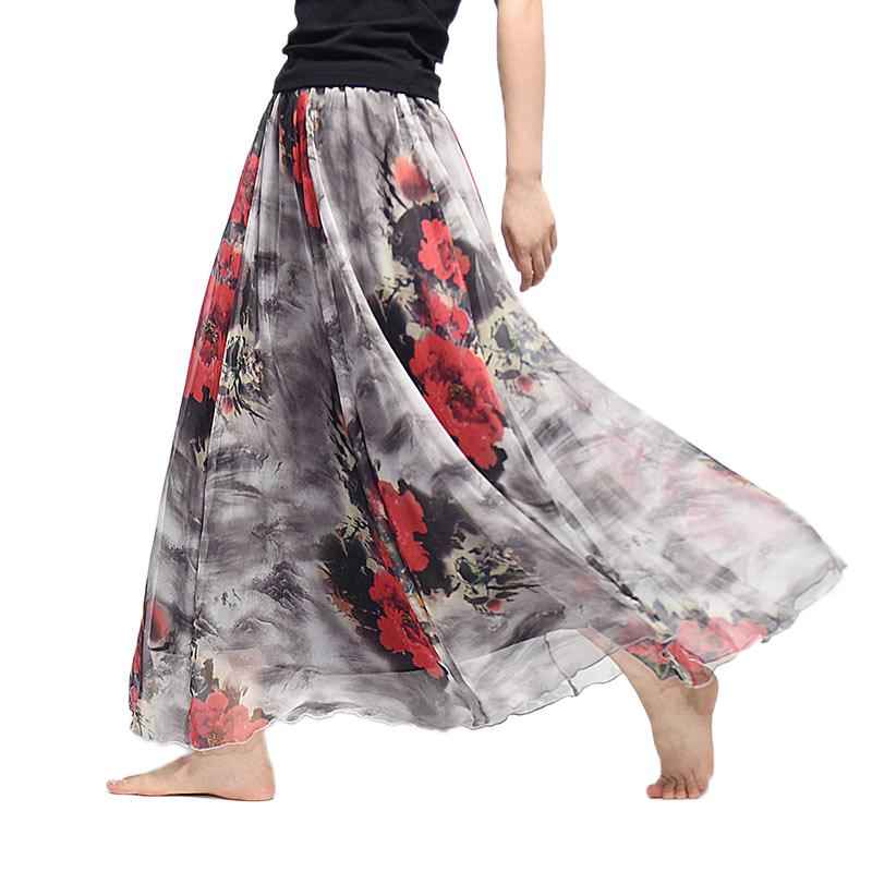 8a26ed5d82 2019 2018 Women Elegant Long Skirt Summer Harajuku Vintage Saia Beach  Bohemian Maxi Skirts Chiffon High Waist Tutu Casual Vestidos J190412 From  Babala3, ...