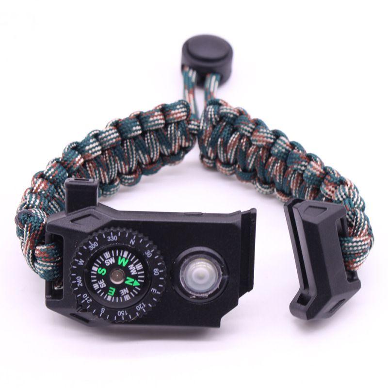 Открытый браслет выживания Survie SOS LED Nightlight Плетеный Paracord Отдых на природе Многофункциональный компас свисток браслет набор инструментов