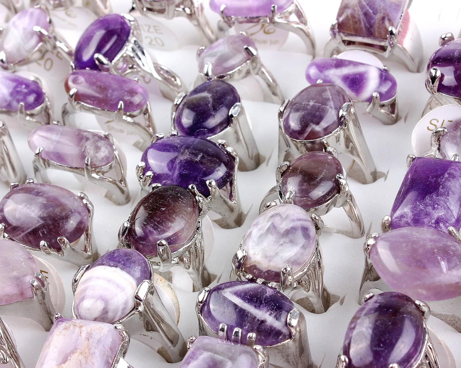 Top Quality Fashion Natural Amethyst Stone Ring New Mixed 50Pcs Oversize Natural Stone Woman Charm Rings 7-10