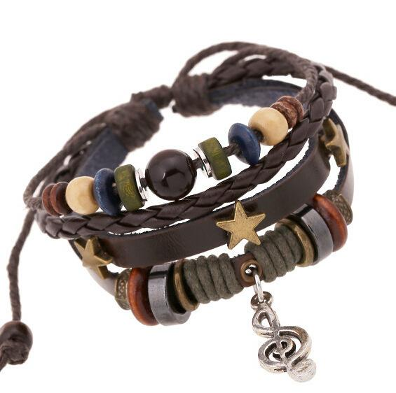 Nuevo patrón A String Of Beads Genuine Leather Music Symbol Alloy Note Cowhide Bracelet