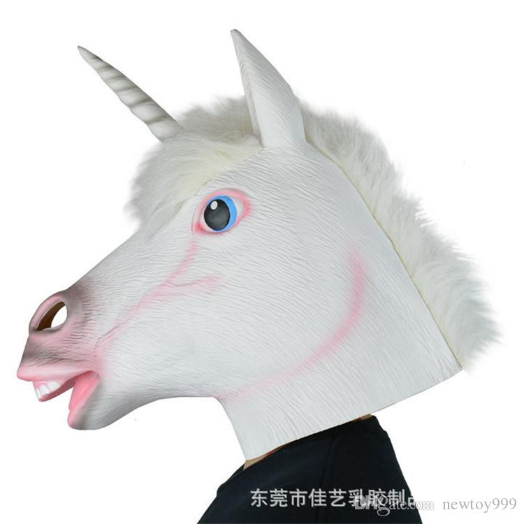 Novità Costume Party Deluxe Maschera Unicorn Cavallo di Halloween Creepy Cosplay del partito Prop lattice di gomma Creepy capo Full Face Mask 917X30