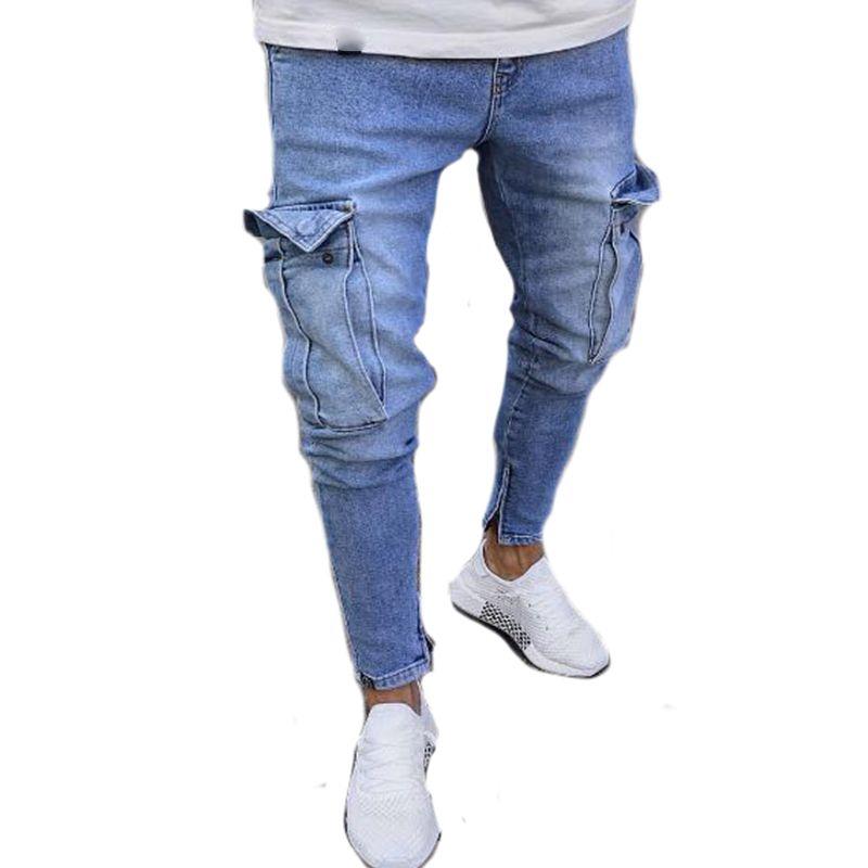 f32e872a1916 Ropa de moda para hombre Pantalones vaqueros de carga Pantalones para  hombre Ripped Skinny Work Pantalones de mezclilla Ropa de calle Diseñador  de ...