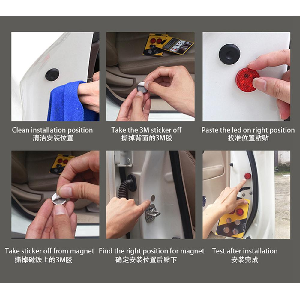Car Lights Decorative Lamp Car Door Safety Reflector Anti-Collision Warning  LED Lights, New Proximity Switch System,Easy DIY,No Wiring