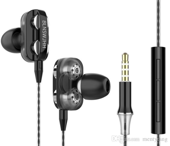 4pcs loudspeakers HD Earphone/Mi In-ear Earphones Wired Low Bass With Mic Dual Driver for Mobile Phone