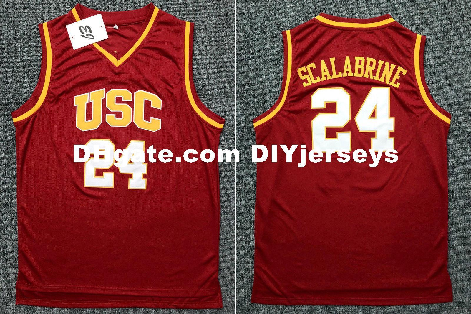 more photos fd488 2fa59 Wholesale Cheap Brian Scalabrine #24 USC College Stitched Basketball  Stitched Jersey Customize Any Name N0. MEN WOMEN KIDS XS-6XL NEW