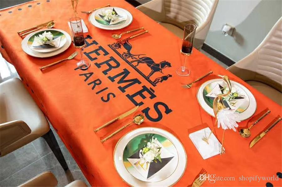 H Letter Print Tablecloth Orange Horse Design Waterproof Table Cloth Fashion Kitchen Simple Luxury Table Cloth