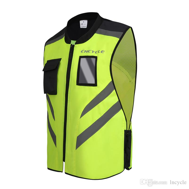 CHCYCLE Reflective Motorcycle Vest Safety high visibility jacket reflective signal cycling moto yellow vest tape on clothes