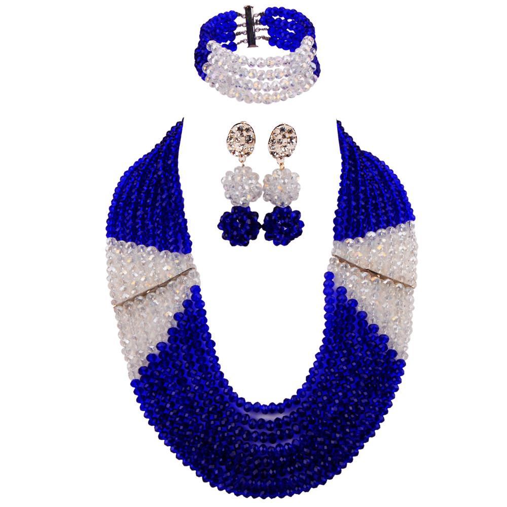 52d3ddc1abd3 Compre Azul Real Y Transparente Claro AB Conjunto De Joyas Perlas Africanas  Collar Nigeriano Boda Joyería Del Regalo Regalos LBSJ10 A  58.36 Del ...