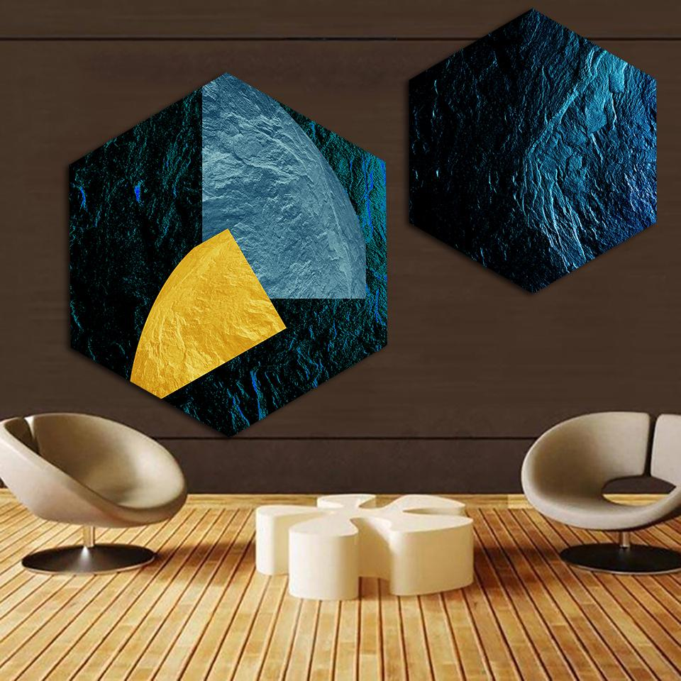 Home Decor Canvas Painting Nordic Hexagon Abstract Color Geometry HD Pictures Wall Art Prints Modular Poster For Living Room