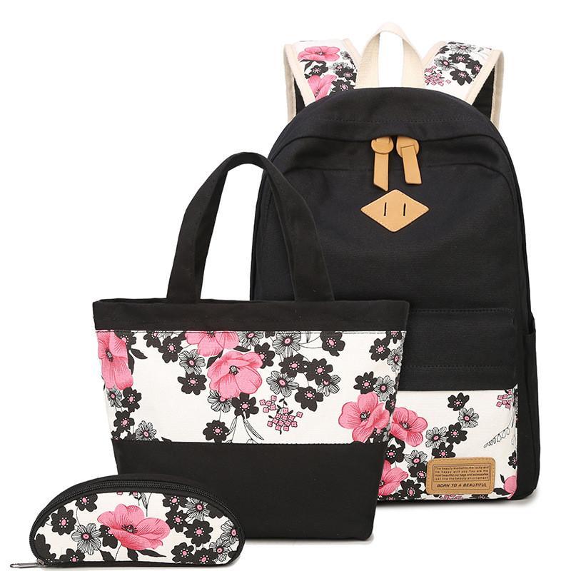 ee9879d748 Backpack Women Casual Floral Printing Backpack Canvas Bookbags School  Backpacks Bags For Teenage Girls Bagpack Backbag Y18120601 Jansport Backpack  Kids ...