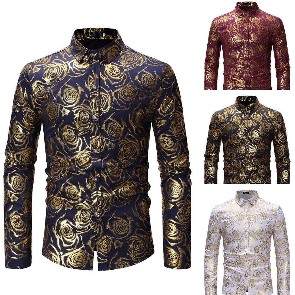 hot sale online cb059 25748 Mode Druck Casual Männer Langarm-shirt Nähen Mode Tasche Design Stoff Weich  Komfortable Männer Kleid Slim Fit Style # G