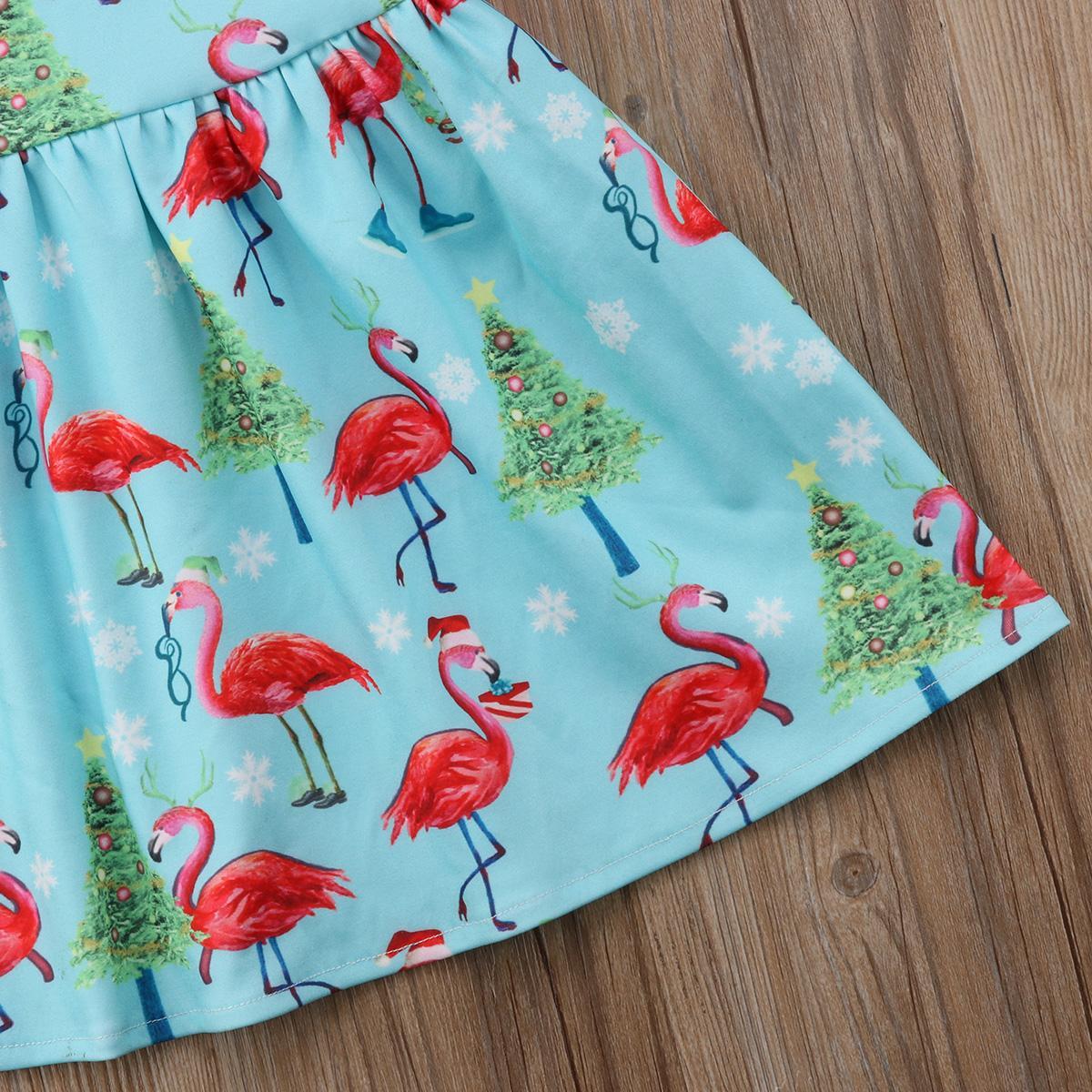 Aves Diseño ACCIÓN US verano de los bebés de los niños vestido de la historieta ocasional de la impresión de algodón Vestido de tirantes ropa de fiesta del niño vestido 0-2T