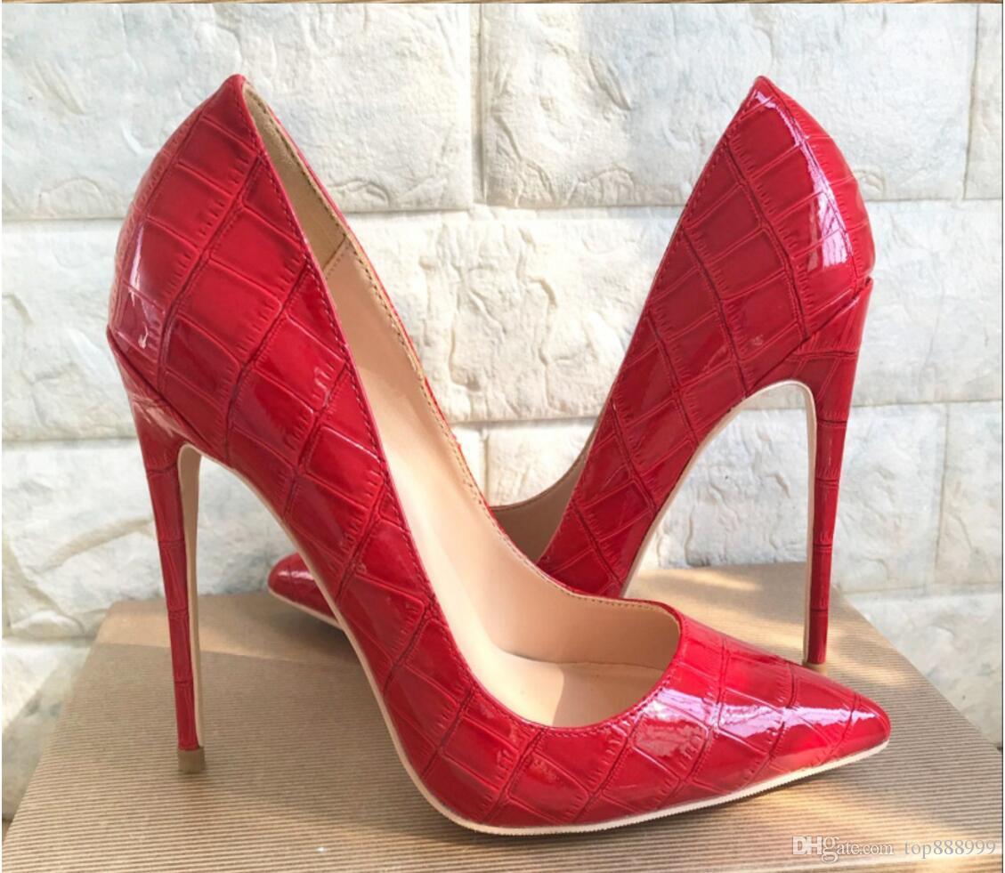 080abef64 ... Sapatos De Fundo Vermelho De Salto Alto Sexy Bombas Sapatos Para As  Mulheres De Couro Envernizado Dedo Apontado Sapatos De Salto Alto Do  Casamento De ...