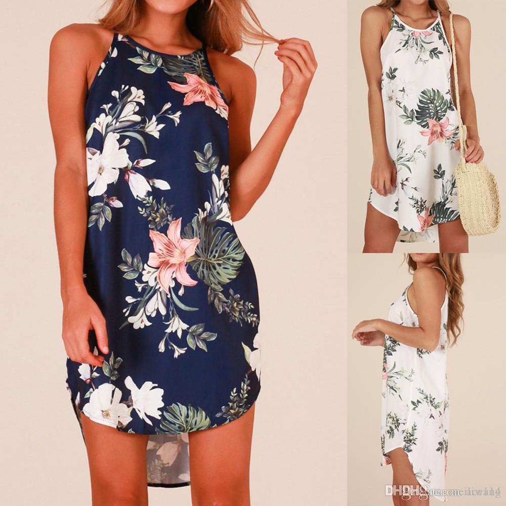 caa82c65eb Women Dress Summer Sexy Off Shoulder Floral Print Chiffon Dress Boho Style  Short Party Beach Dresses 2018 New 8703 Lace Dress Black Dresses From  Ace114, ...