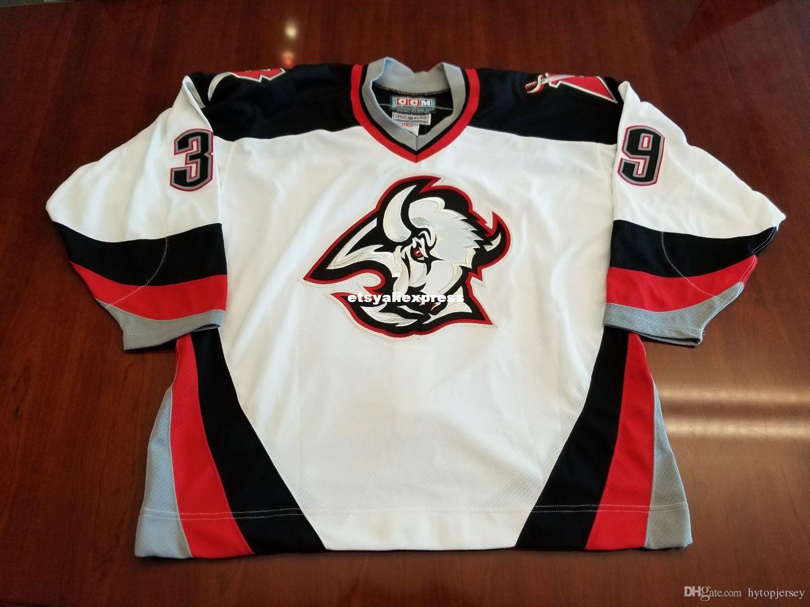 new style 81b40 f89d0 ustom Dominik Hasek Vintage Buffalo Sabres CCM Center Ice Jersey Mens Retro  Jerseys