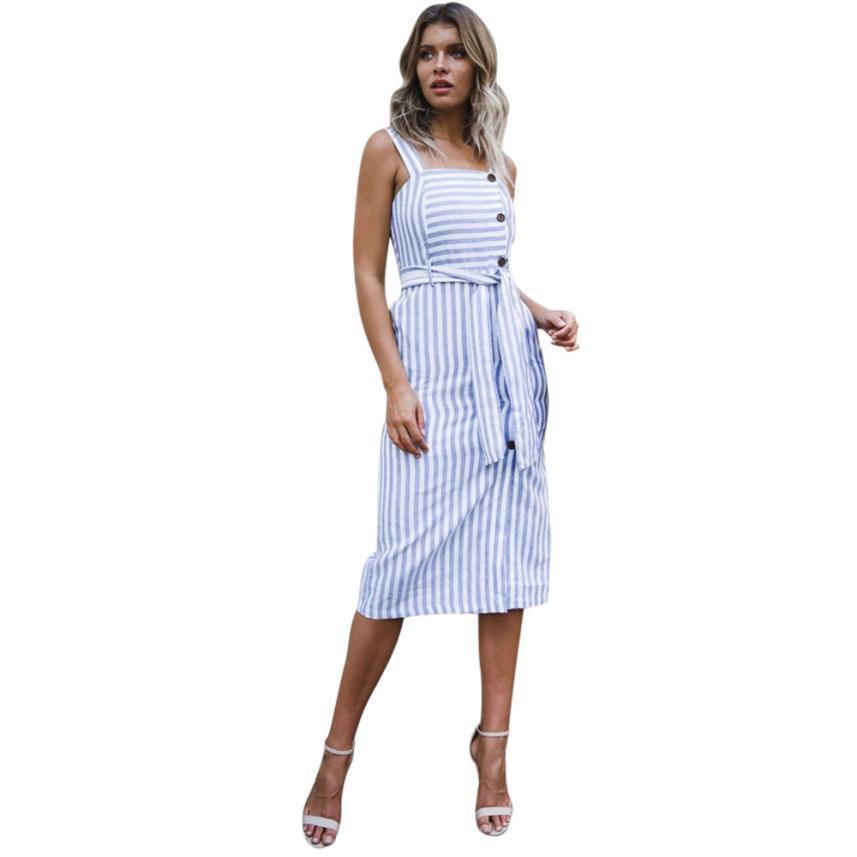 8965e80188893 Blue Striped Dress Womens Summer Sleeveless Bow Waist Button Front Dress  Lady Beach Sundrss Midi Dresses #10 Juniors Green Dress Women Dress Style  From ...