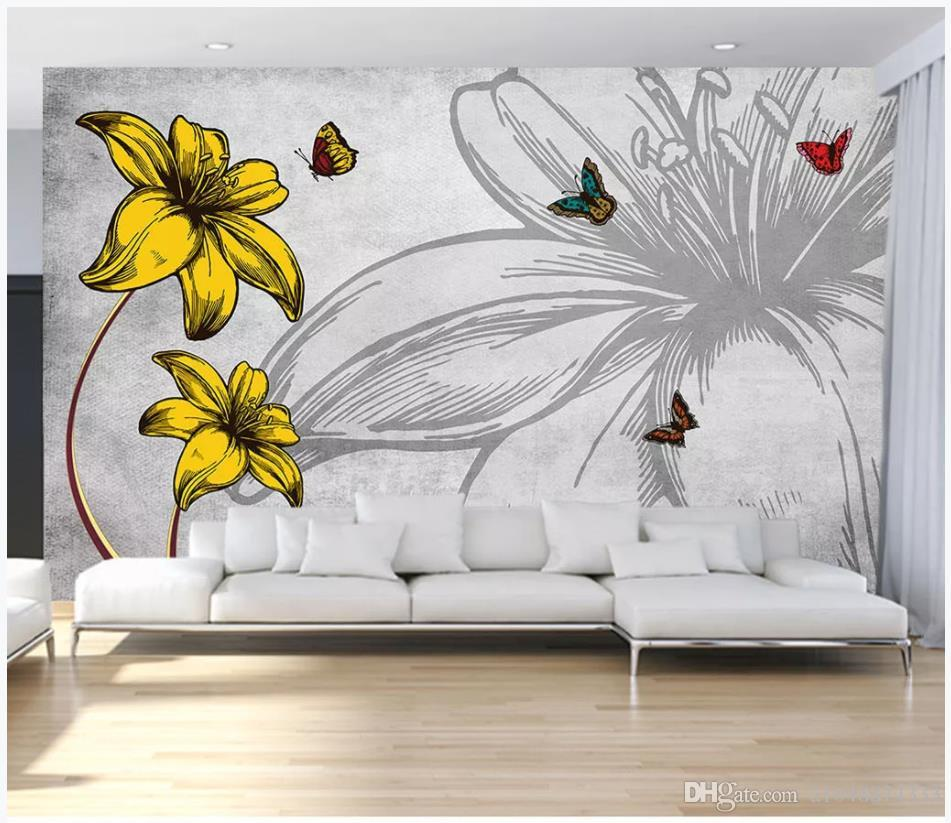 Custom photo wallpapers 3D mural wall papers Nostalgic romantic flower butterfly love flower fashion living room wall decoration painting