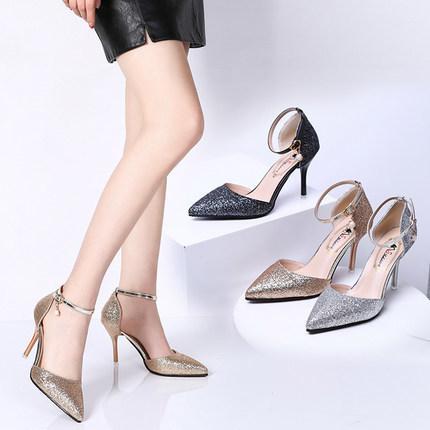98b17a604 Compre Sapatos De Vestido Baotou Sandálias Femininas 2019 Verão Nova Versão  Coreana De Moda Exquisite Lantejoulas De Salto Alto.