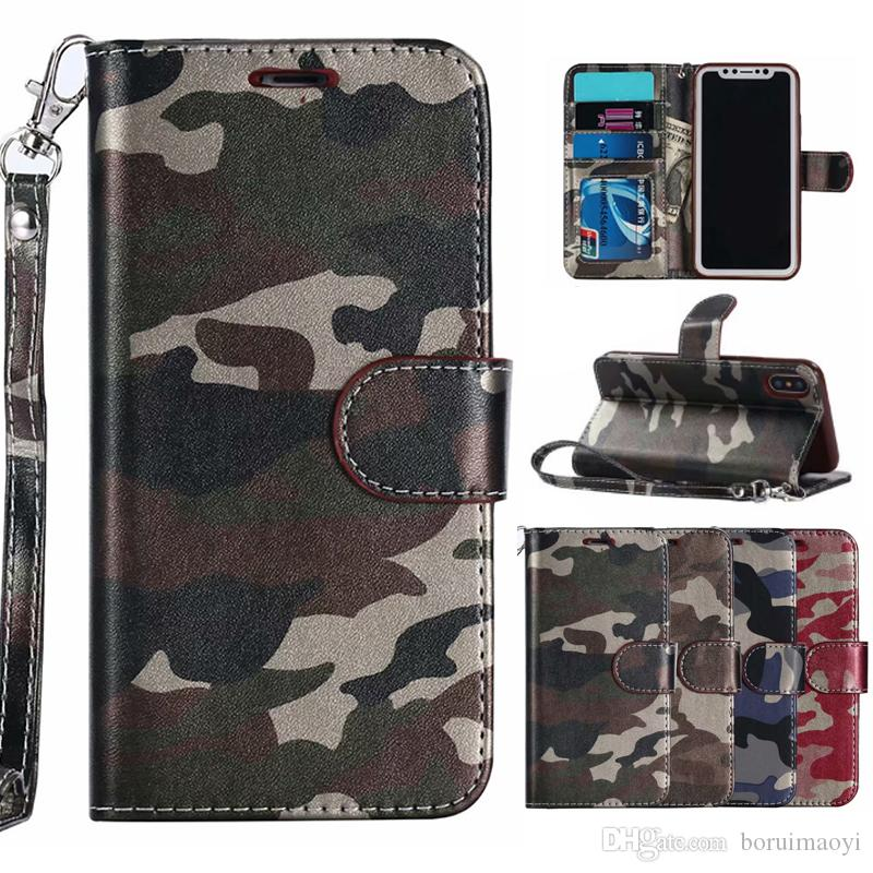 new style 2b236 993e8 Camo Camouflage Wallet Leather Clip phone Case Cover For iPhone XR XS MAX 7  8 6 Plus Card Slot Skin Holder Flip Stand
