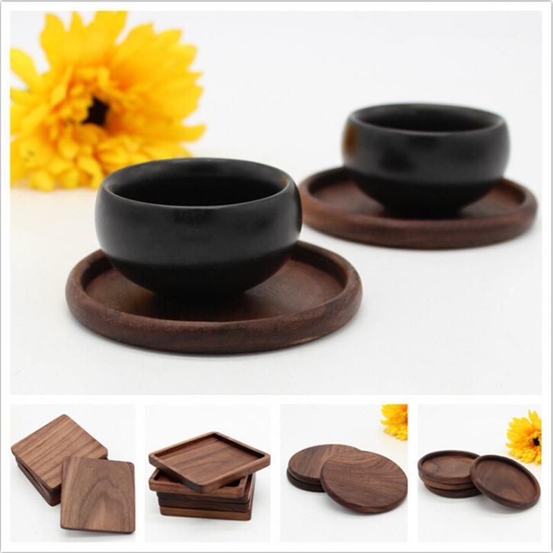 100 шт черный орех деревянные подставки кубок чаша коврик коврик кофе чай кубок коврики чайник напитки подставки для продажи