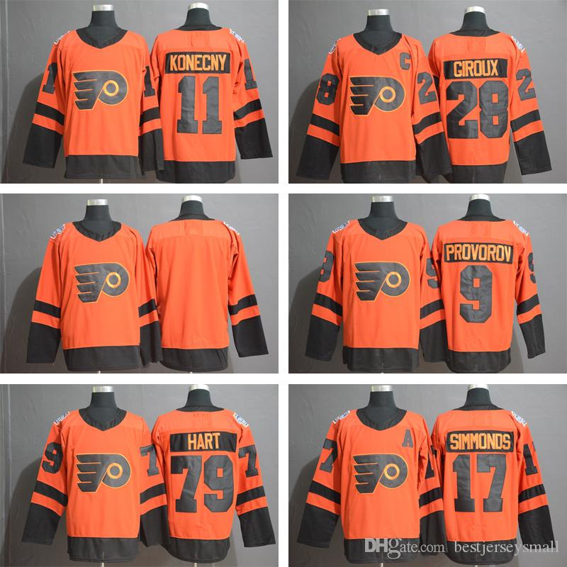 86ae812f02c 2019 Philadelphia Flyers 11 Travis Konecny 17 Wayne Simmonds 28 Claude  Giroux 53 Gostisbehere 79 Carter Hart 9 Ivan Provorov Blank Hockey Jersey  From ...
