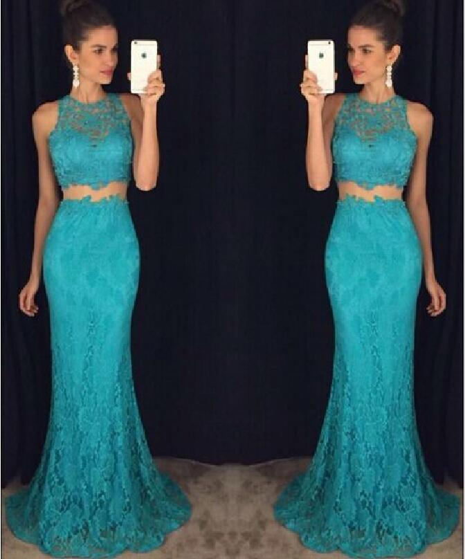 4ef60969a4f Two Pieces Hunter Lace 2018 Prom Dresses Formal Mermaid 2019 Evening Gowns  With Crew Neck Zip Back Floor Length Party Dress Halter Top Prom Dresses Hi  Low ...