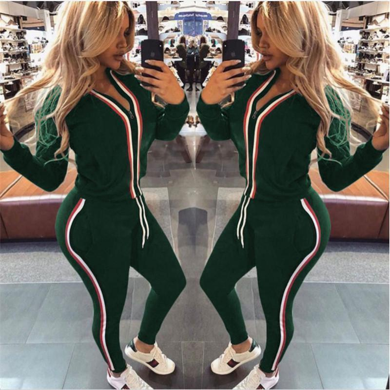 d0c633b3334a Mejor venta Pop Ropa deportiva Mujer de manga larga Costura Color sólido  Ropa de fitness Sexy S-XL Camisa de jogging de tamaño completo Pantalones  ...