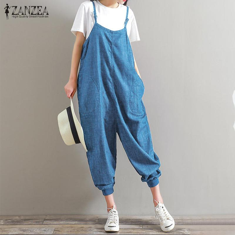 e475619cb09 2019 ZANZEA Rompers Womens Jumpsuit 2018 Summer Overalls Casual Loose  Sleeveless Backless Playsuits Bottoms Pants Plus Size 5XL Y1891808 From  Shenyan01