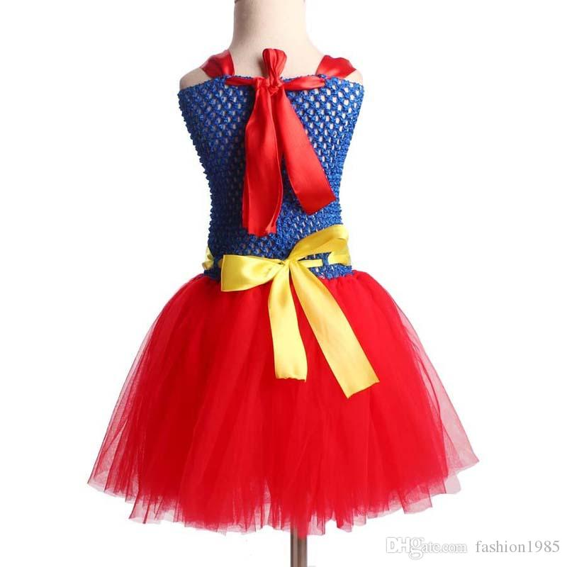Superhero Inspired Girl Tutu Dress Wonder Woman Batman Superman Cosplay Photo Props Dress Halloween Birthday Gift