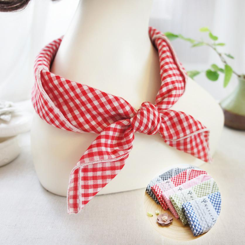 Hip Hop Cotton Plaid Small Square Scarf Outdoors Sports Headwear Hair Band Scarf Necktie Wrist Wrap Band for Women Men