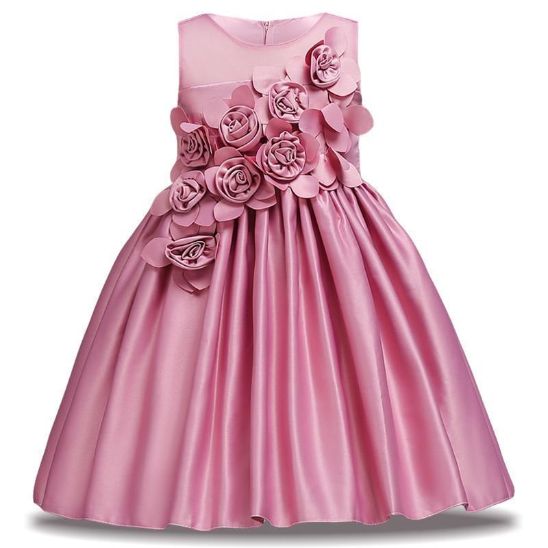 38708f3fdf7ea Applique Girl Dresses 2019 Summer Petals Dress For Kids Party Birthday Prom  Gowns Girl Wedding Dress Infantil Vestidos