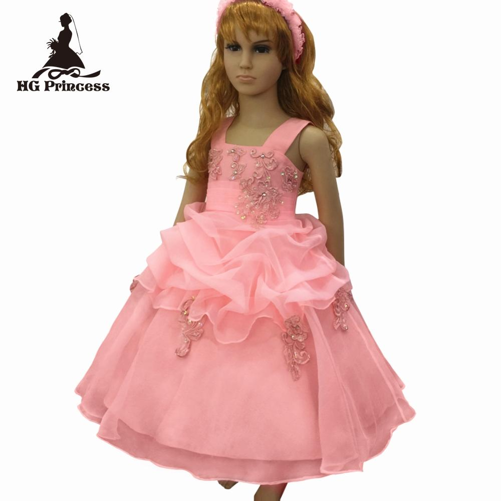 21a5170226 Free shipping 2019 New Style Child Ball Gown With Lace Appliques Peach  Flower Girl Dresses For Weddings Kids Party Dress Organza