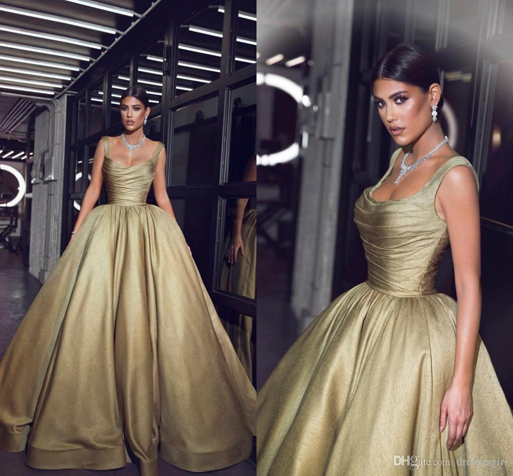2019 Gold Square Neck Evening Dresses Floor Length Prom Party Gown Ruched Ball Gown Formal Occasion Dresses