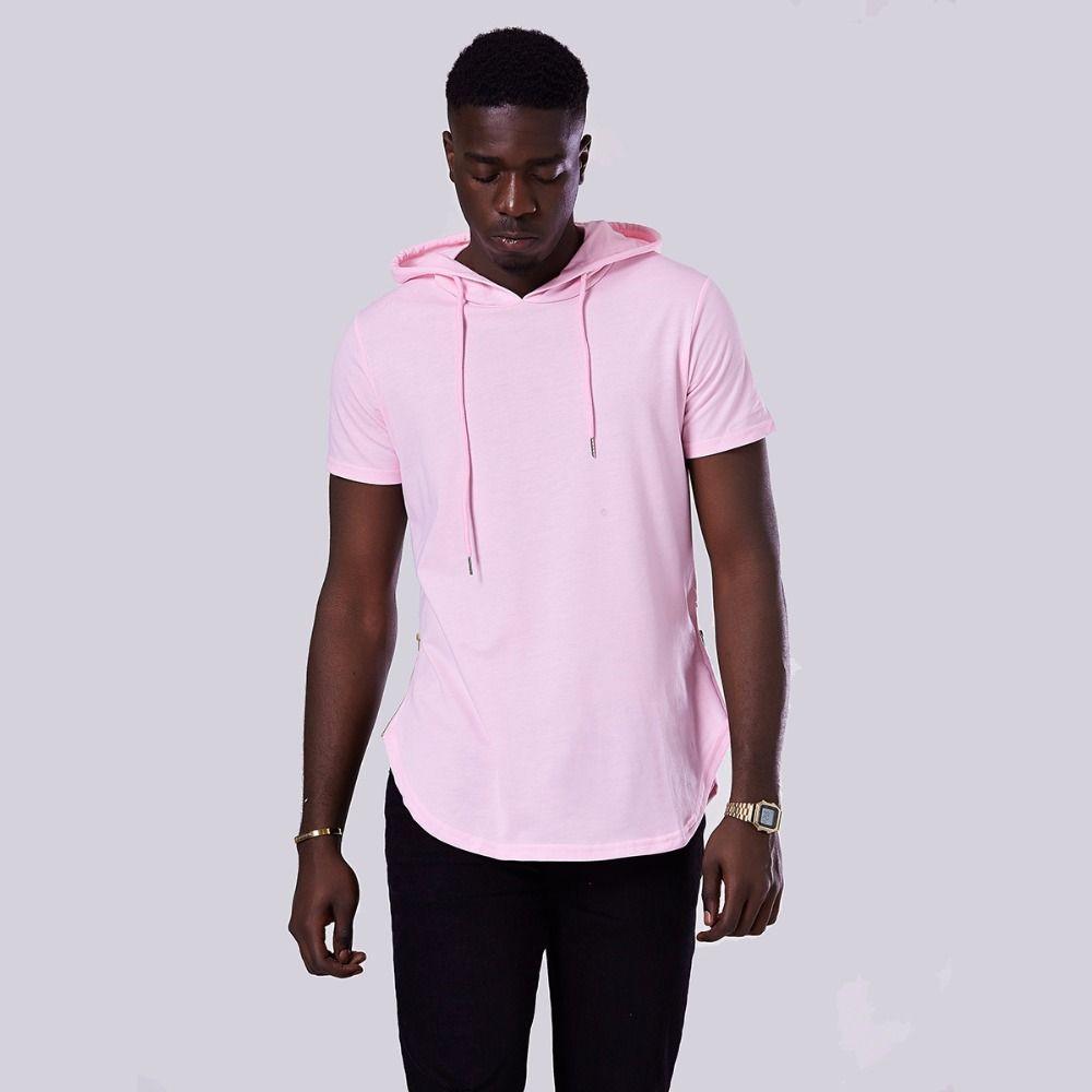 bf84e6d3425 Fashion-Mens Hooded T Shirt Hipster Hip Hop T Shirt Men Longline Zipper T  Shirts Short Sleeve Tees Men Hooded Hoodies