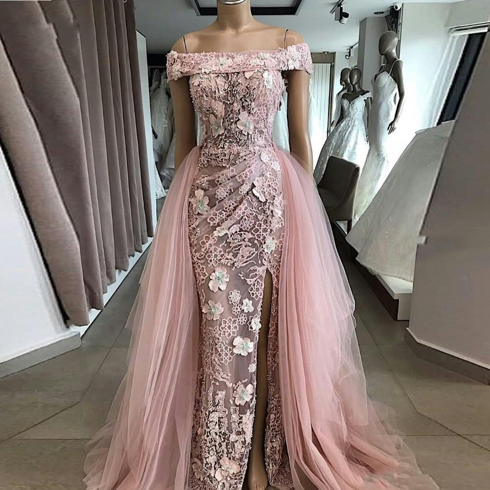 Off the Shoulder Light Pink Evening Dresses With Detachable Tulle Skirt 2020 Appliques 3D Flora Split Prom Party Gowns
