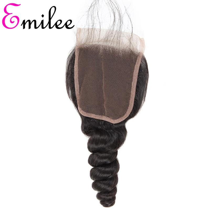 Emilee HD Transparent Lace Closure Loose Wave Malaysian Non-remy Hair Swiss Lace Top Closures 4*4 inch