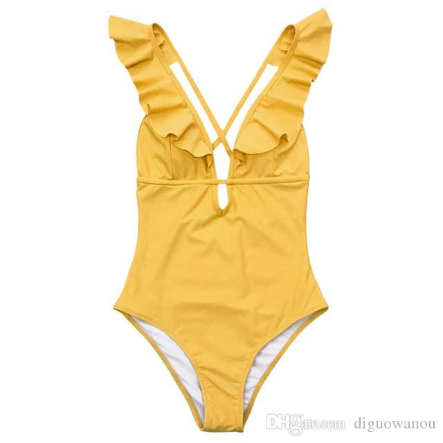 a478bb78f9680 2019 Burgundy Heart Attack Falbala Yellow One Piece Swimsuit Women Ruffle V  Neck Monokini 2019 New Girls Beach Bathing Suit Swimwear From Diguowanou,  ...