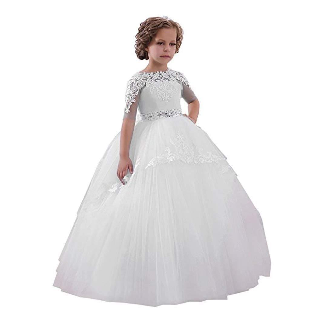cd76343386c Flower Girl Dress New Birthday Prom Flower Tulle Little Girl White Blue  First Communion Dress Ivory Girls Dress Joan Calabrese Flower Girl Dresses  From ...