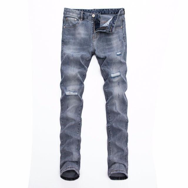 8b826d3de 2019 primavera y otoño explosiones jeans para hombres moda europea y  americana de gama alta hot wild casual slim slim pants 608 588654055