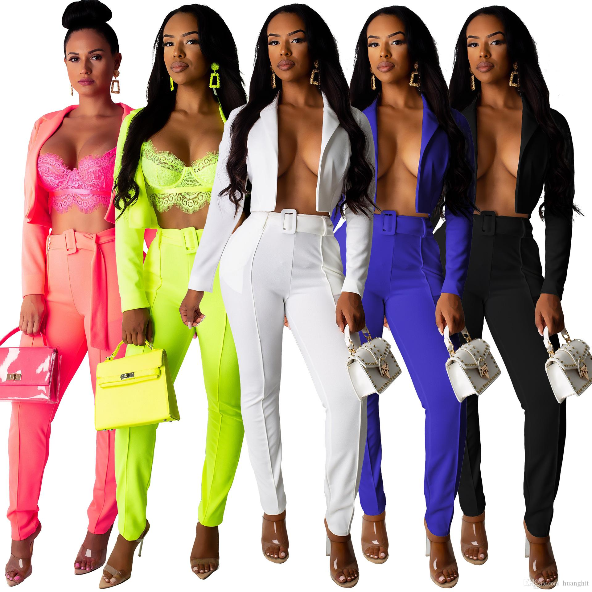 Hot selling European and American women's fashion casual C suit set handsome sexy two pants set