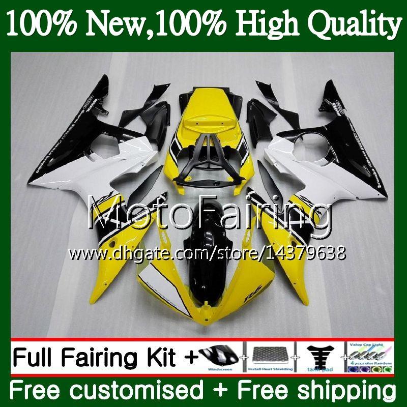 Corpo per YAMAHA YZF600 YZF R6 03 04 05 YZFR6 03 04 05 89MF16 YZF 600 R 6 YZF-R600 YZF-R6 2003 2004 2005 Carena Kit carrozzeria giallo bianco