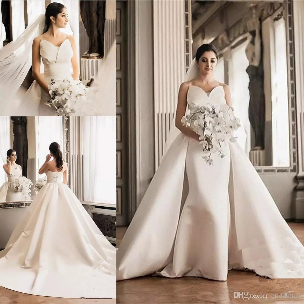 df97102a40 White Satin Beach Wedding Dresses