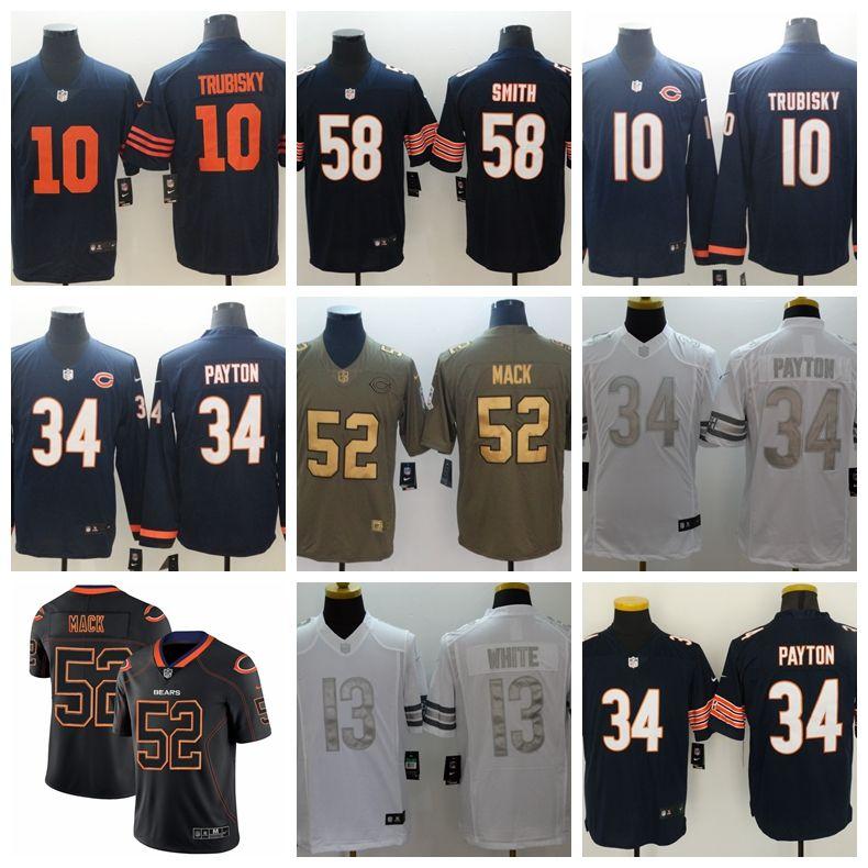 buy online d4a36 6e0e3 52 Khalil Mack Chicago Bears Jersey 34 Walter Payton 54 Brian Urlacher 29  Tarik Cohen 96 Akiem Hicks 39 Eddie Jackson 51 Butkus Ditka Smith