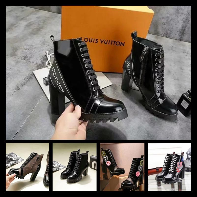 214e43bf3c2 2019 Best Women designer boots famous luxury brand genuine leather high  print high heels women shoes fashion motorcycle boots size 35-41