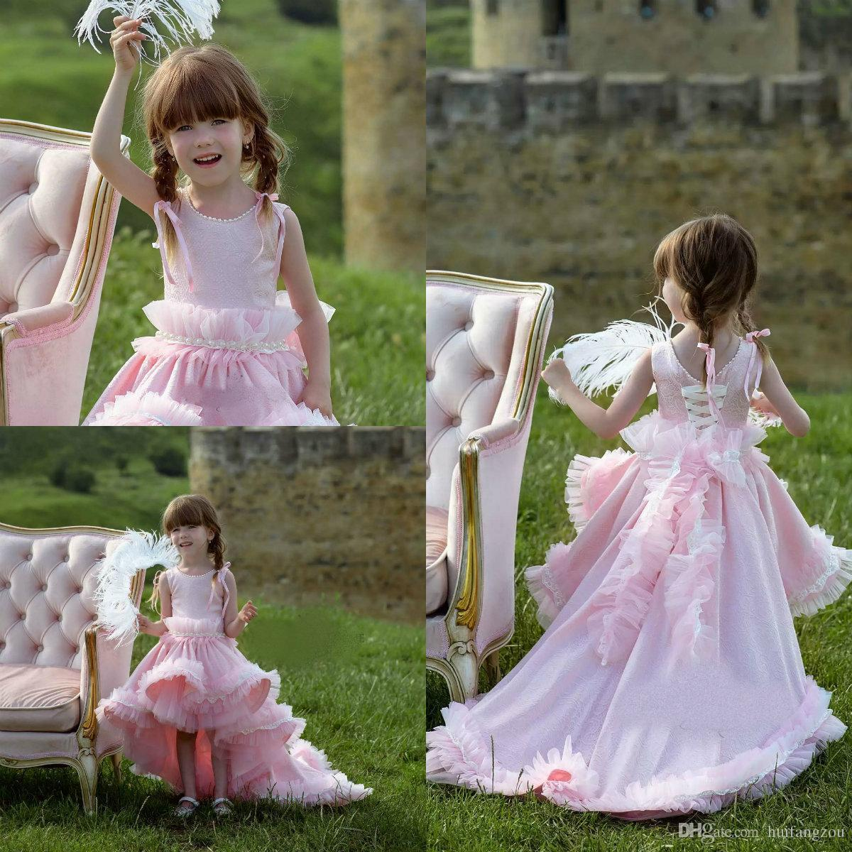 b559a88f2 Pink Princess Flower Girl Dresses Lace Hi Lo Ruffles Girls Pageant Dress  With Pearls Upscale Kids Formal Gowns Custom Made Girl Dresses For Special  ...