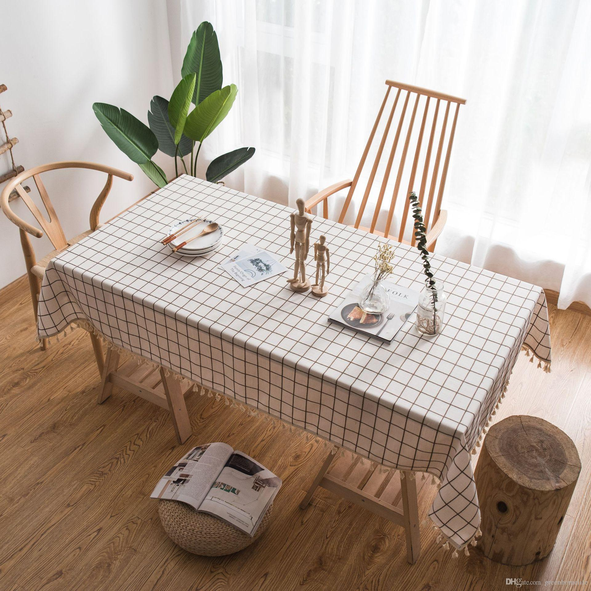 Amazing Table Cloth Plaid Embroidered Simple Tablecloth Solid Color Cotton And Linen Small Fresh Fabric Tassel Rectangular Tablecloth Coffee Table Download Free Architecture Designs Scobabritishbridgeorg