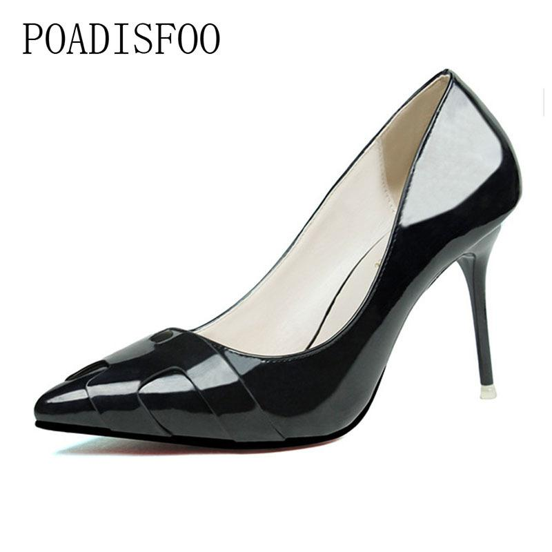 caad5381a90b40 Designer Dress Shoes POADISFOO 2019 Women Pumps Fashion Thin High Heel  Pointed Solid Color Patent Leather H Shallow Ladies .ZWM 6089 2 Womens  Loafers Mens ...