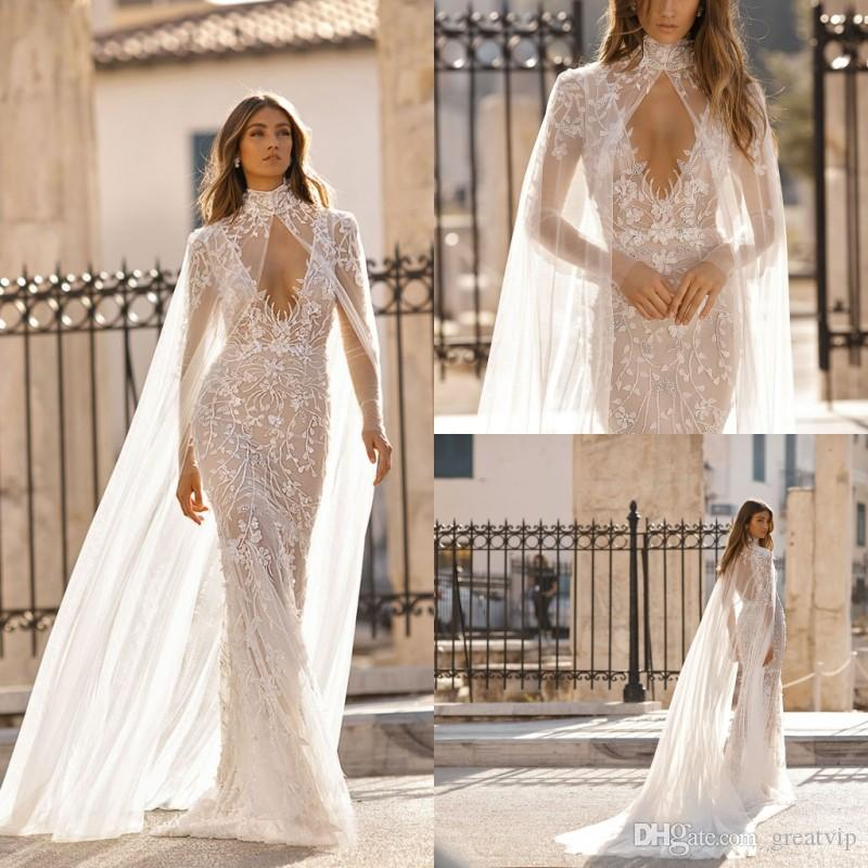 Berta 2019 Beach Mermaid Wedding Dresses With Wraps V Neck Applique Beads  Long Sleeve Backless Bridal Gowns Plus Size Robe De Mariée Wedding Gown  Designers ... c504b014d726