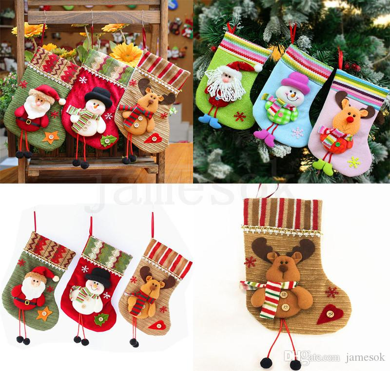 Christmas Stockings Santa Socks Gifts Children's Candy Bags Christmas Decoration Home Christmas Tree Decorations 6 Styles dc843