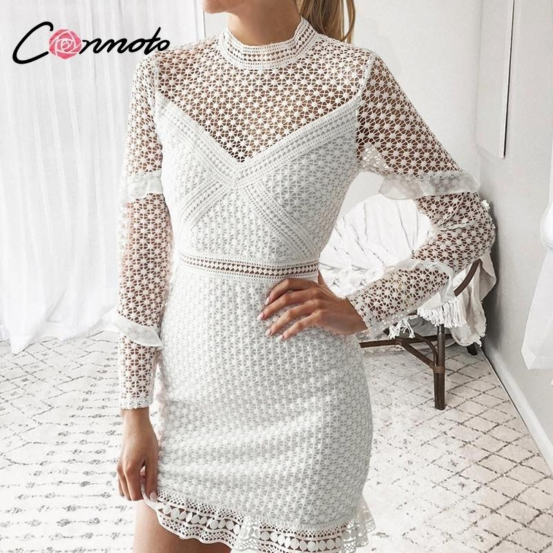 e456f32a9f81 2019 Conmoto Hollow Out Double Layer Long Sleeves White Lace Women ...